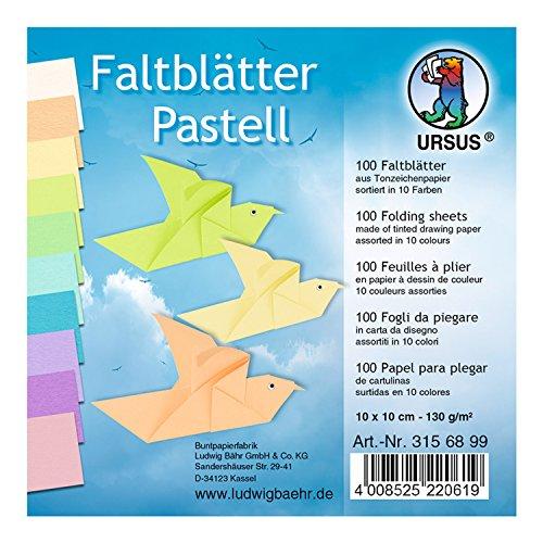 Ursus 3156899 - Faltblätter Pastellfarben, 10 x 10 cm, 100 Blatt, sortiert in 10 Farben