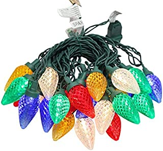 MULTI-SPARKING Christmas Tree Lights, 16ft 25Led C9 String Lighting, Green Cord Multi-Colored String Lights, Connectable Fairy Lighting for Outdoor, Indoor, Yard, Porch, Patio Décor