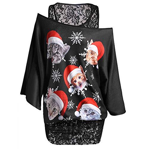 VEMOW 2018 Elegante Damen Frauen Plus Größe Spitze Twinset Weihnachten Katze Schneeflocke Druck Lässig Täglich Party Freizeit T-Shirt(Schwarz, 44 DE / 3XL CN
