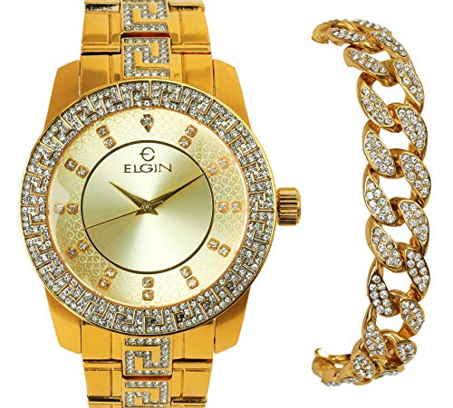 Elgin | Heavy | Iced Out | Gold Plated | Luxury Statement | Quartz Movement | CZ Simulated Diamonds | Men's Watch | Bling-ed | Miami Cuban | Bracelet | Set -  icedtag, 8426