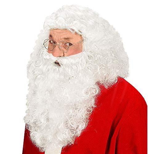 Widmann S0867 – Perücke Nikolaus, mit Bart, weiß, Weihnachtsmann, Santa Claus, Set, Kostümaccessoire, Weihnachten, Nikolaustag, Motto Party, Karneval