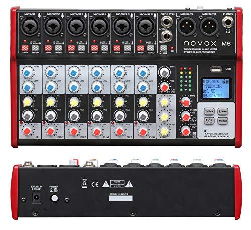 Novox M8 MKII - Mesa de mezclas con 8 canales de entrada analógicos,...