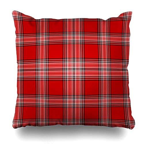 Funda de almohada de tiro Pulgadas cuadradas Tejido rojo cálido Blanco Tela escocesa negra Falda escocesa Texturas abstractas Mantel escocés Mantel de picnic Picnic Tartán Funda de almohada decorativa