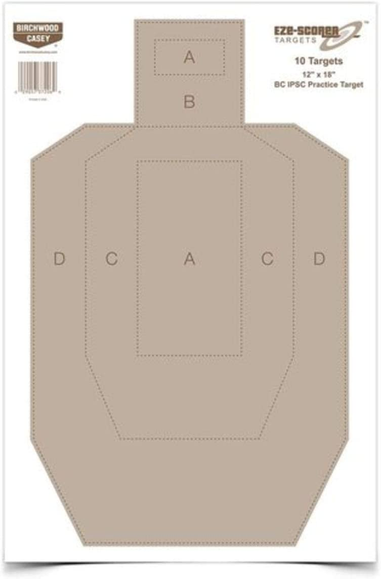 Birchwood Casey Eze-Scorer BC27 IPSC Practice Target (Per 10), 12 x 18-Inch by Birchwood