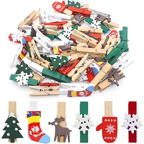 Jyongmer 72pcs Christmas Wood Clips Christmas Tree Stocking Wood Clothespins Elk Gloves Snowflake Photo Clips, Christmas Color and Style Clothespins DIY Photo Pegs for Christmas Tree Decoration Craft