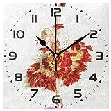 Naanle, orologio da parete quadrato, balletto danzatore, motivo floreale, silenzioso, funzionamento a batteria, per casa, ufficio, scuola