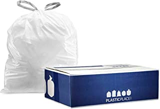 """Plasticplace 5 gallon Trash Bags │ 0.9 Mil │ White Drawstring Garbage Liners for Bucket │ 19"""" X 25"""" (100Count)"""