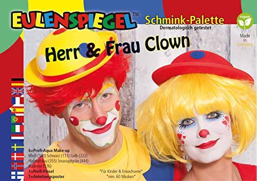 Eulenspiegel 206331 - Schmink-Palette Herr und Frau Clown, 6 x 3,5 ml Farbe, 1 Pinsel, 1 Anleitung, Schminkfarben