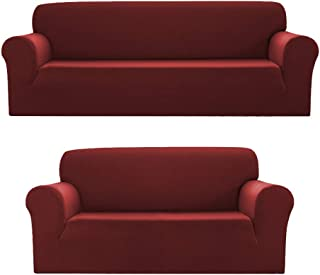 Bedding Haus 2pc Couch Slip Cover Set (Sofa, Loveseat), Stretch Form-fit, Furniture Protector, Plaid Pattern, Premium Polyester/Spandex, Daisy, 2pc Burgundy