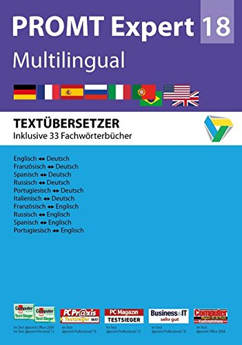 PROMTExpert 18 Multilingual: Software für Übersetzer. Sprachen: Deutsch, Englisch, Französisch, Spanisch, Russisch, Italienisch und Portugiesisch. ... 7, 8 und 10. (PROMT Übersetzungssoftware)