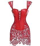 Kiwi-rata Donna Pelle delle di Overbust Dimagramento Kunst Leder corpetto Corsetto Vestito Rosso, Small