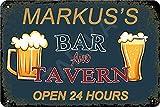 Hdadwy Markus's Bar and Tavern Abierto 24 horas Cartel de hierro Pintura vintage Cartel de chapa para calle Garaje Hogar Café Bar Hombre Cueva Granja Decoración de pared Artesanía