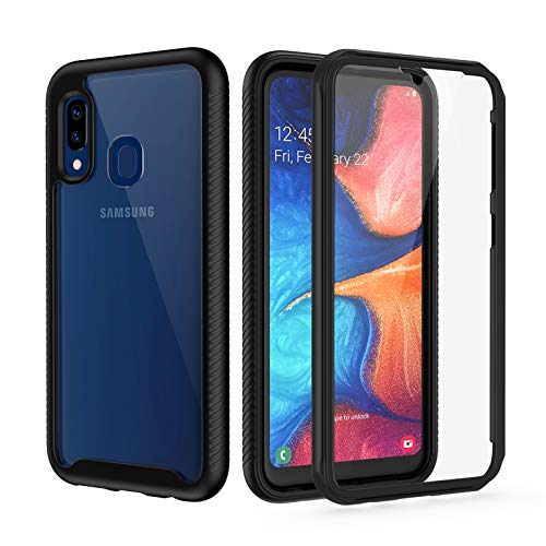 seacosmo Cover Samsung A20E, Trasparente Antiurto 360 Gradi Rugged con Protezione Integrata dello Schermo per Custodia Samsung Galaxy A20e Nero