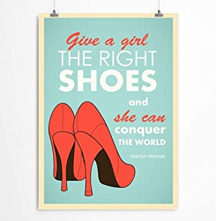 Marilyn Monroe Quote Poster For Women - Fashion Shoe Art Print For Girls Bedroom - Retro Poster, 5x7, 8x10, 11x14, 12x16, 13x19, 16x20, 18x24, 24x36 inches