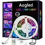 Aogled Tira LED,Luces LED RGB 5m kit 5050 LED con Control Remoto de 24 botones y 16 variaciones de color,Tiras LED para sala de estar, dormitorio, techo y decoración de interiores