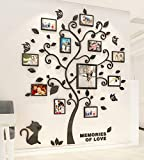 Árbol Pegatinas de Pared 3D Árbol Familia Marco de Fotos DIY Murales Stickers Decoración para Salón, Dormitorio, Oficina, Habitación Pegatinas Pared(1 Negro,M: 160*132cm)