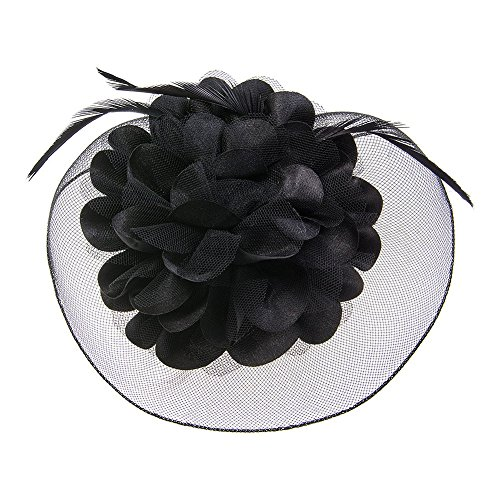 Blue Banana 50s Flower Fascinator hoedje (zwart)