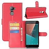 Vodafone Smart N8 Handyhülle Book Case Vodafone Smart N8 Hülle Klapphülle Tasche im Retro Wallet Design mit Praktischer Aufstellfunktion - Etui Rot