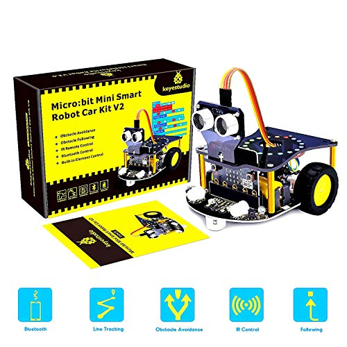KEYESTUDIO BBC Micro:Bit Robot Car Kit with Detailed Tutorials Rich Projects, Blocks And Python Code, Multiple Modes, Microbit School Study Project Robot Car(Not Include Micro:Bit)