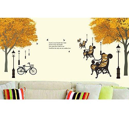Sataanreaper Presentes Los Árboles En Otoño Lámparas Antiguas Bancos De Bicicletas Y Cita Amor' Etiqueta De La Pared (PVC De Vinilo, 90 Cm X 60 Cm, Multicolor) # SR-092