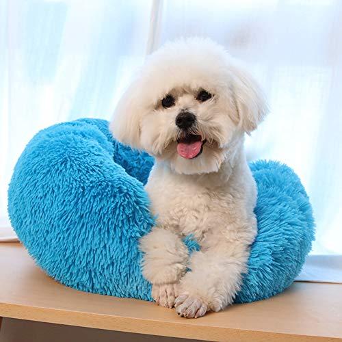 Soft Pet Bed Wasbaar Comfortabele Ronde Nest Slapende Kussens voor Katten en Honden, Knuffel Kennel Zachte Puppy Warm Kat Matten Bed Slaapzak, Diameter 50 cm / 20 inch, Blauw