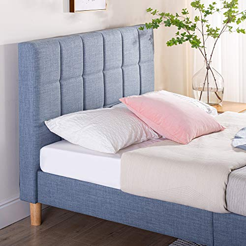 Zinus Lottie Upholstered Square Stitched Platform Bed / Mattress Foundation / Easy Assembly / Strong Wood Slat Support / Blue Slate, Queen,