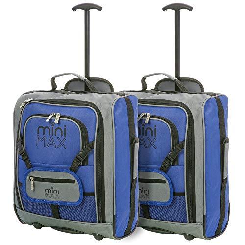Minimax Valigie per bambini Trolley Zaino di viaggio con frontale per giocattoli/bambole/pelouche (2 x Blu)