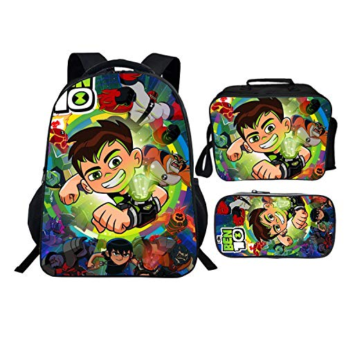 Be-n 10 Backpack 16inch Bookbag Schoolbag And Lunch Box Set For Boys Girls Kids Toddler