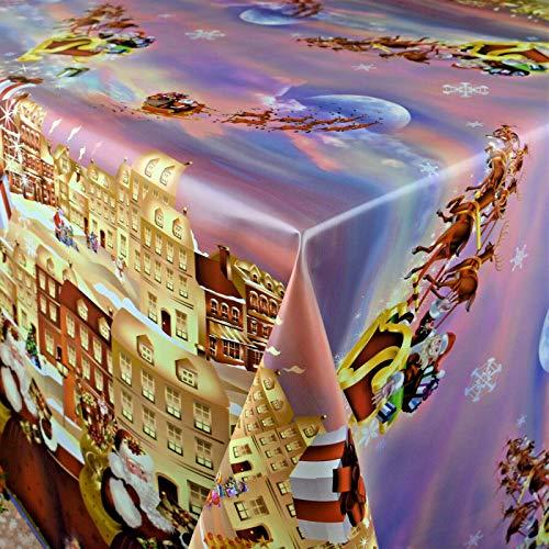 KEVKUS Wachstuch Tischdecke Meterware K25B Weihnachten Geschenke Bordürenmuster wählbar in eckig rund oval (Rand: Schnittkante (ohne Einfassung), 100 x 140 cm eckig)