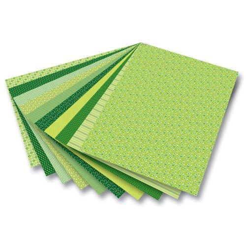 folia 46509 Motivkarton 270g/m² Motivkarton Basics, 270 g/m², 50 x 70 cm, 10 Motive, grün (10er Pack)