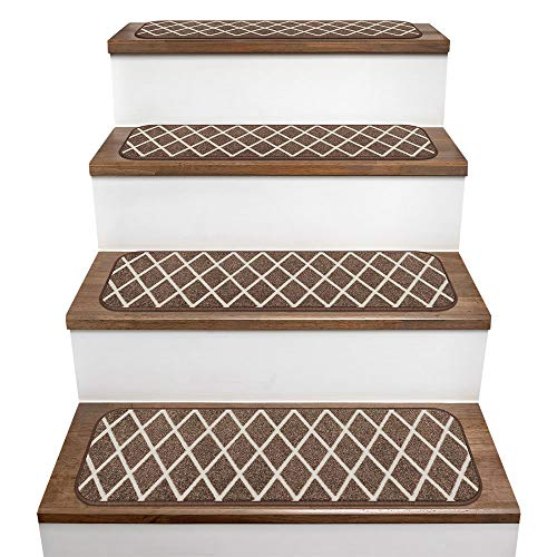 House, Home and More Set of 15 Skid-Resistant Carpet Stair Treads – Diamond Trellis Lattice – Coffee Brown & Vanilla Cream – 9 Inches X 36 Inches