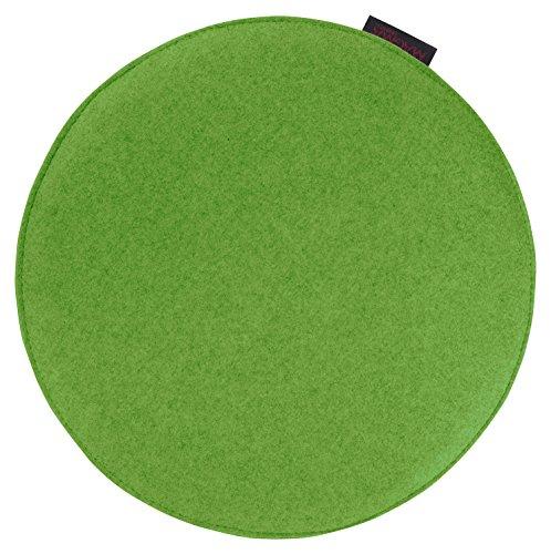 """Stuhl-/Sitzkissen """"Avaro"""" Filzoptik, rund ca. 35x2 cm, in frischen kombinationsfrohen Uni-Farben, Sitzkomfort für alle Gelegenheiten (grün)"""