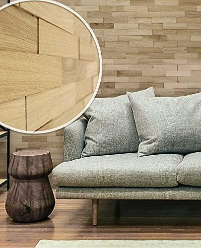 wodewa Paneles de Madera para Pared Roble Natural I 1m² Revestimiento de Paredes 3D Panel Decorativo Madera Interior Sala de Estar Cocina Dormitorio Mural I Estructurado Natural