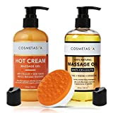 Anti-Cellulite Massage Oil, Gel & Mitt - 100% Natural Cellulite Treatment with Hot Cream Massage Gel, Oil & Massager - Penetrates Skin to Break Down Fat Tissue - Firm, Tone, Tighten & Moisturize Skin