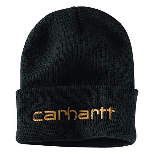 Carhartt Herren Knit Insulated Logo Graphic Cuffed Beanie Hut für kaltes Wetter, schwarz, Einheitsgröße