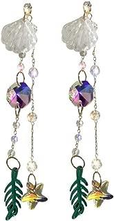 XIANGBAO-Earrings Fashion Crystal Tassel Long Section Earrings Shell Starfish Ear Pendant Fashion Ear Ornaments (Color : Crystal)