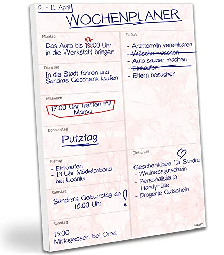 blaash® Wochenplaner Block DIN A4 |50 Seiten Planer mit Wochenübersicht & Platz für Notizen & Ideen | Einsatz im Alltag & Büro: Aufgabenplaner, Terminplaner, Menüplaner, Haushaltsplaner | Rosa