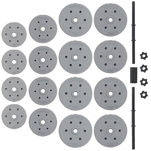 Hardcastle 30Kg Adjustable Dumbbell Barbell Weight Set - Grey