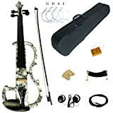 Kinglos 4/4 Farbig Massivholz Fortgeschritten Elektrische Violine Geige Set mit Ebenholz Beschläge (DSG1312)