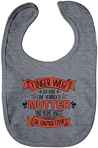 Shirt Happenz Baby Spruch Mutter Lätzchen | Finger Weg | Mutter | Verrückt | Sabberlätzchen | Baby-Lätzchen, Farbe:Graumeliert (Heather Grey Melange BZ12);Größe:Onesize