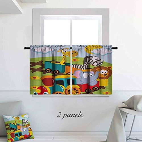 ScottDecor Kids Decor café Curtains Cartoon Baby Safari Wild Animals in a Trainwith Striped Backdrop Art Print 2 Panels Rod Pocket Cafe Tier Curtains Pair 30 x 36 inch