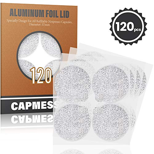 CAPMESSO Espresso Foils -Coffee Pod Seal Lids to Reusable Nespresso Capsules Refillable Pods Compatible with Nespresso Original Line Machines120PCS/Package