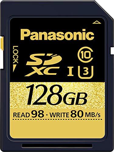 Panasonic 128 GB Speicherkarten (geeignet für 4K Videos, UHS-I, Class 10, U3, Lesen bis 98 MB/s, Schreiben bis 80 MB/s, robust)