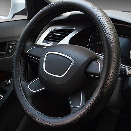 Hivel Luxe Serpentin Cuir Veritable Couvre Volant Voiture Universel Anti Slip Respirant Genuine Leather Vehicule Auto Car Steering Wheel Cover 38cm - Noir