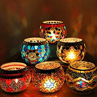 Roza Candle Holders - X Handmade Mosaic Candle Holder Romantic Candlelight Dinner Wedding Party Candle Lamp Home Decoration 6PCs