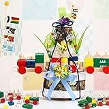 【列車になる積み木付き】豪華3段オムツケーキ 男の子誕生初節句に。ミニ鯉のぼりを飾った和風おむつケーキ L