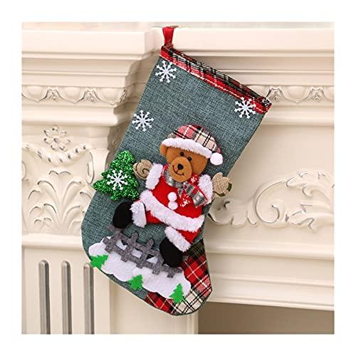 GDYJP Medias de Navidad Calcetines con muñeco de Nieve Santa Elk Oso Impresión Navidad Candy Bolsa de Regalo Chimenea Navidad Árbol Decoración Año D, Tamaño : One Size