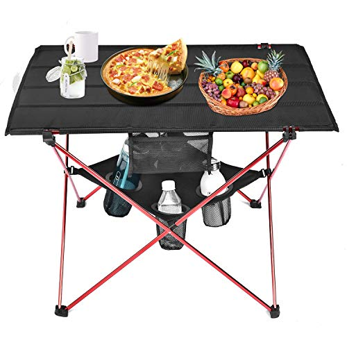Grepatio Lightweight Camp Table  4 Mesh Cup Holders and Carrying Bag Included Folding Canvas Camping Table for Picnic BBQ Fishing Hiking