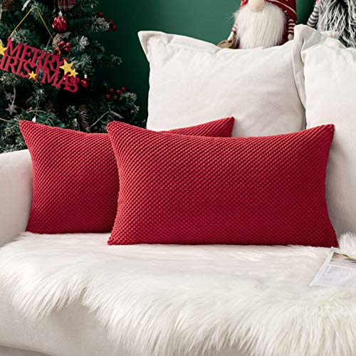 MIULEE Navidad Juego de 2 Soft Fundas granulado Fundas para Cojines Protectores Solid Decorativa Cuadrado Juego Fundas de Almohada de Lanzamiento Poliéster y Mezcla de poliéster 30x50cm 2 Piezas Rojo