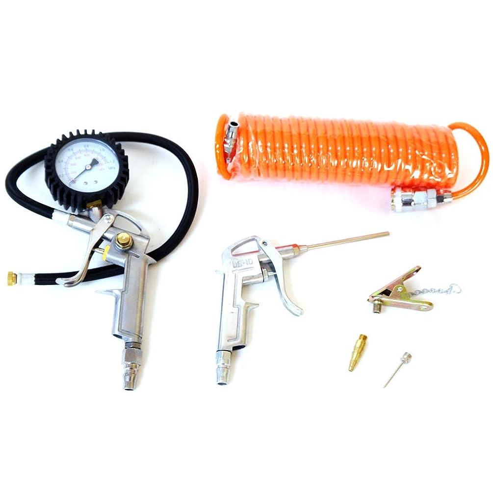 平らにする不機嫌肌[DP400]エアーコンプレッサー用最強エアツール6点セット 空気圧測定エアープレッシャーゲージ タイヤゲージ 自転車タイヤ用ノズルもついている!